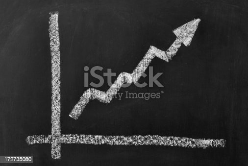 business chart on a blackboard symbolizing growth