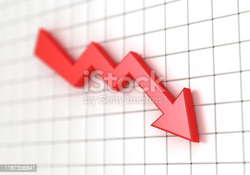 istock Business chart with red arrow down. Loss money. Stock market crash 3d illustration. 1167336941