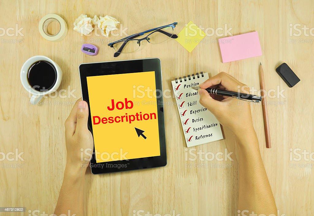 Business check list Job description. stock photo