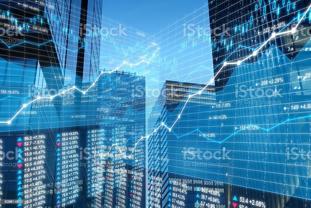 Business city: stock market data and charts on skyscrapers background stock photo