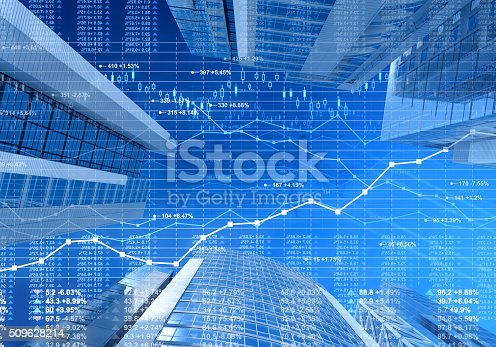 istock Business city: stock market data and finance charts on skyscrapers 509628214