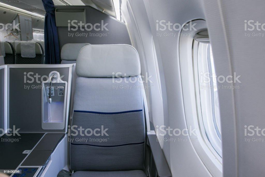 Business class airplane interior stock photo