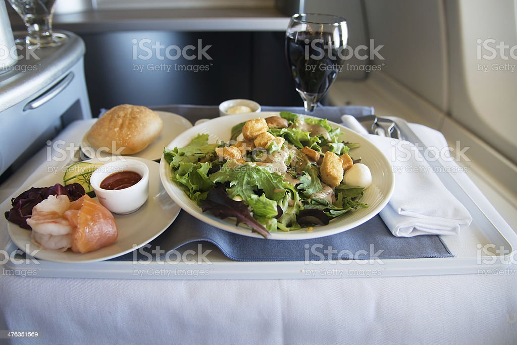 Business Class Airplane Meal stock photo