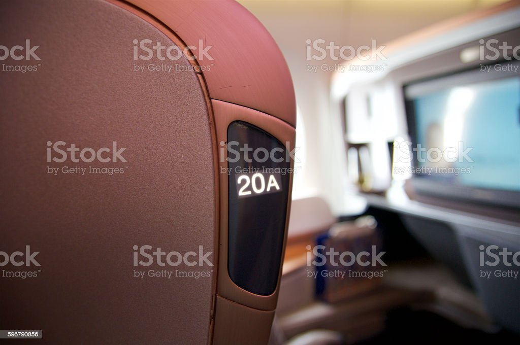 SINGAPORE - JULY 22, 2016: Business Class in the Airbus - foto stock