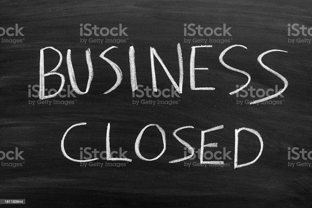 Business Closed Chalkboard stock photo