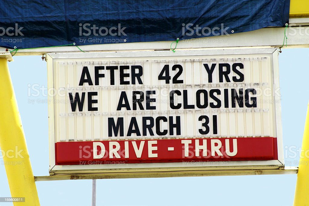 Business Closing Sign stock photo