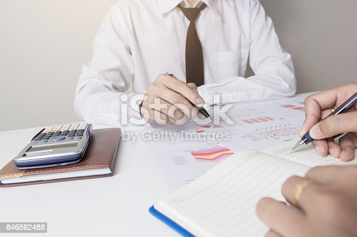 858031152istockphoto Business co working. young account managers crew working with project. Analyze invesment. 846562488