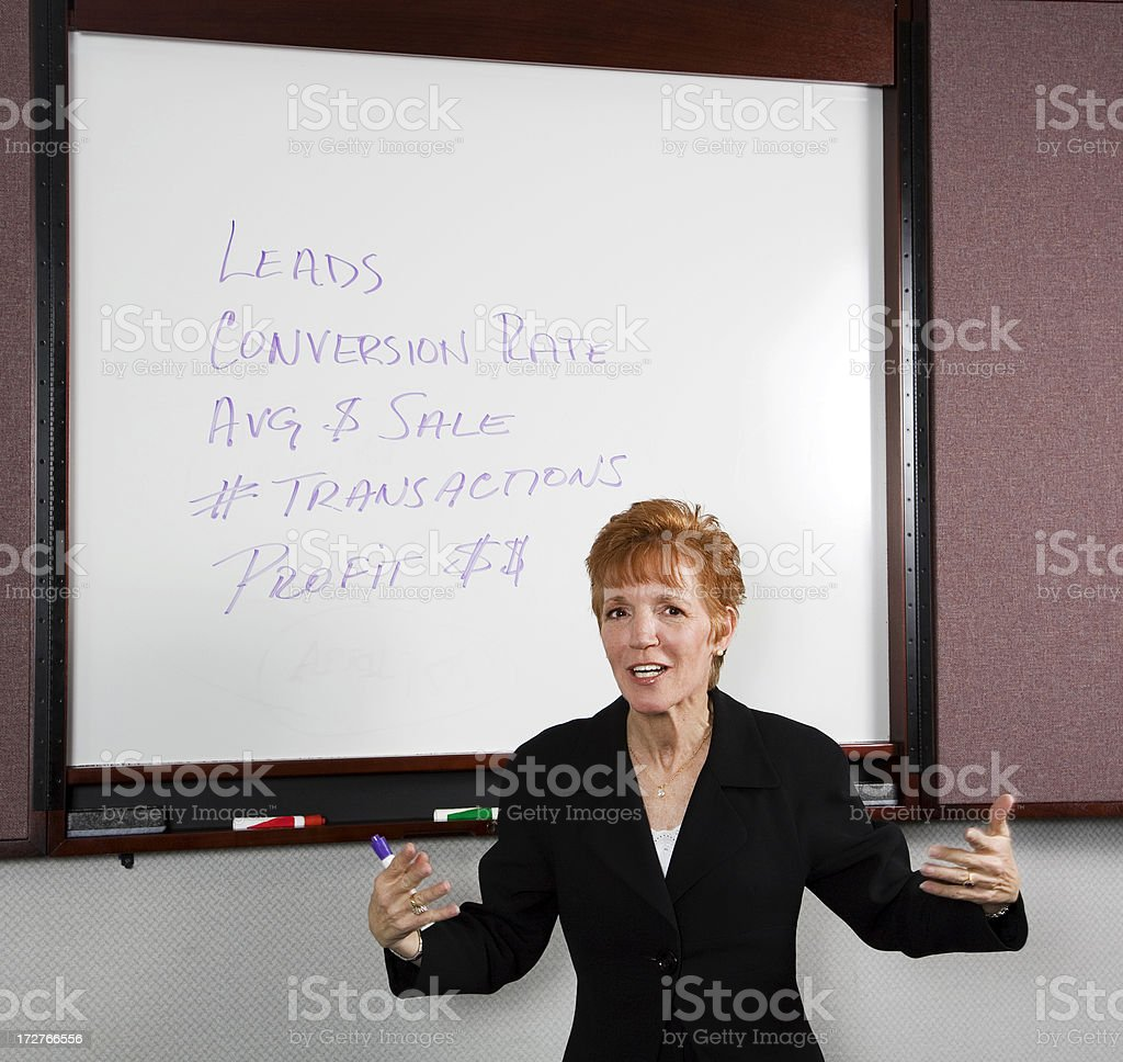 Business Coach Explaining a Concept Using a Whiteboard royalty-free stock photo