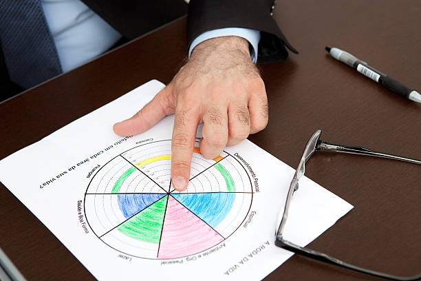 Business Coach Hands Closeup Shot while Analysing Wheel of Life - foto de acervo