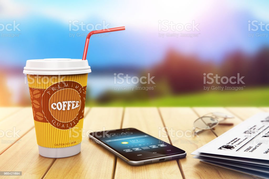 Business coffee break outdoors royalty-free stock photo