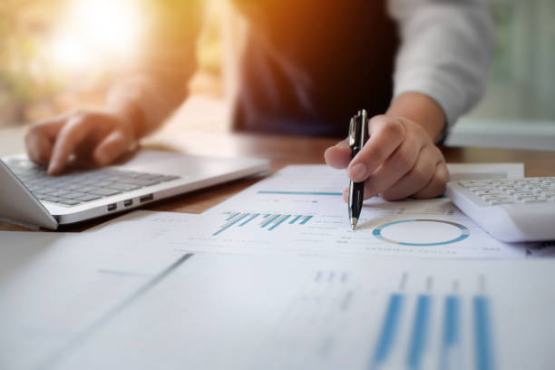 Business colleague analysis data document stock photo