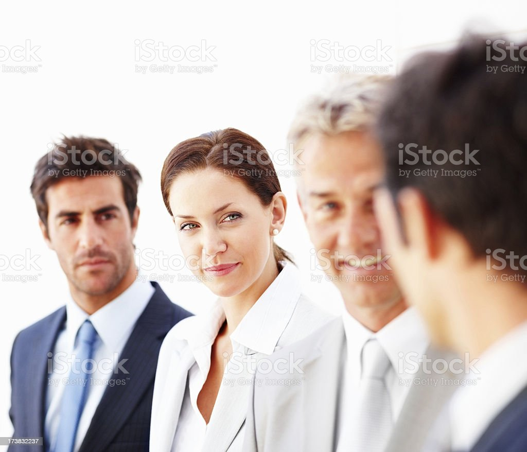 Business colleagues against white royalty-free stock photo