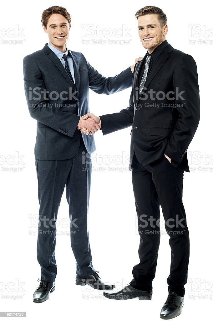 Business colleagues are now partners stock photo