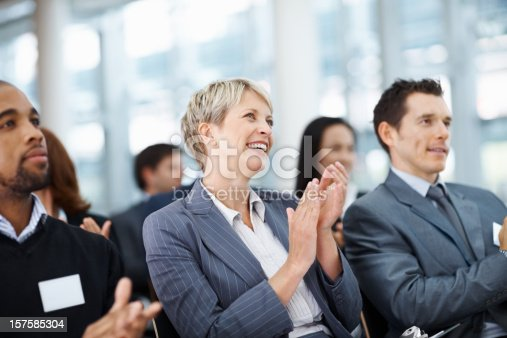 497183120 istock photo Business colleagues clapping her hand while at a seminar 157585304