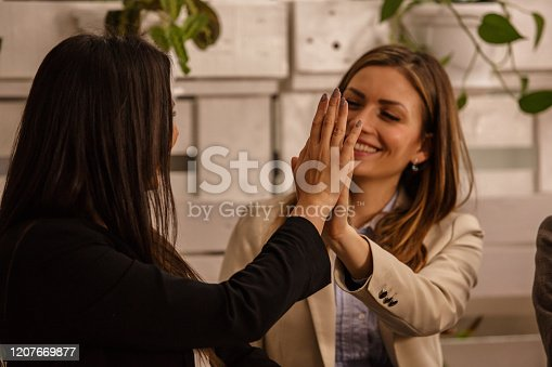 1031394114 istock photo Business colleagues high-fiving 1207669877