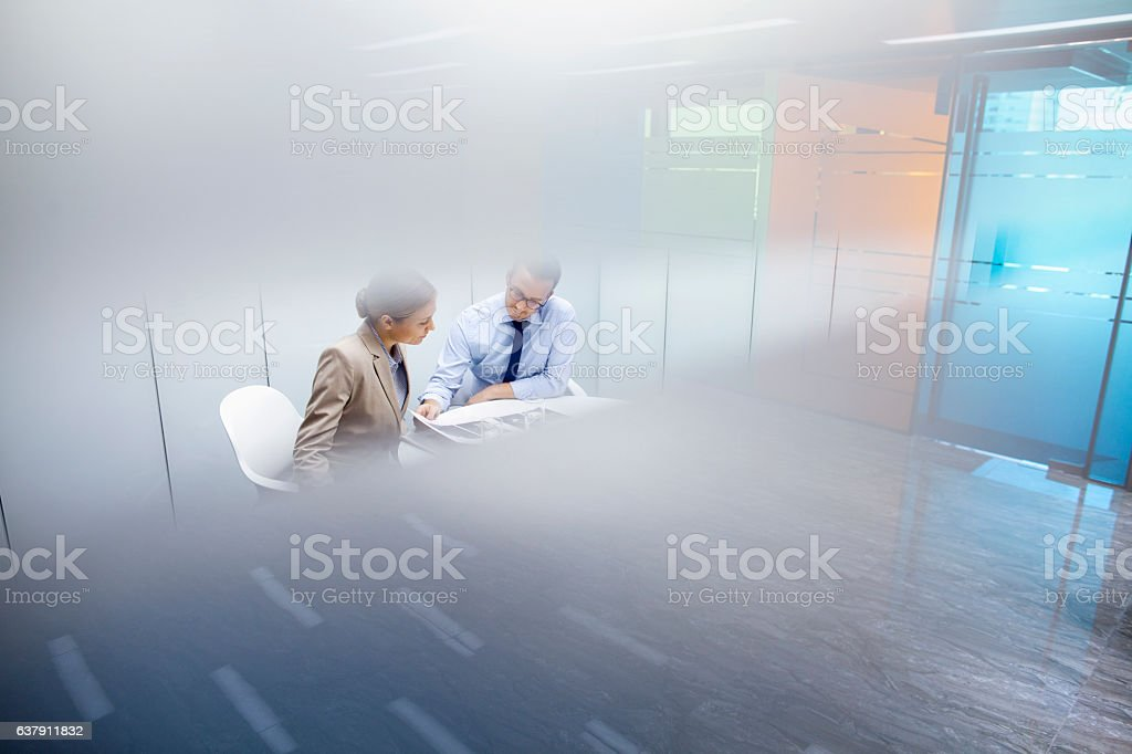 Business colleagues meeting together in room stock photo