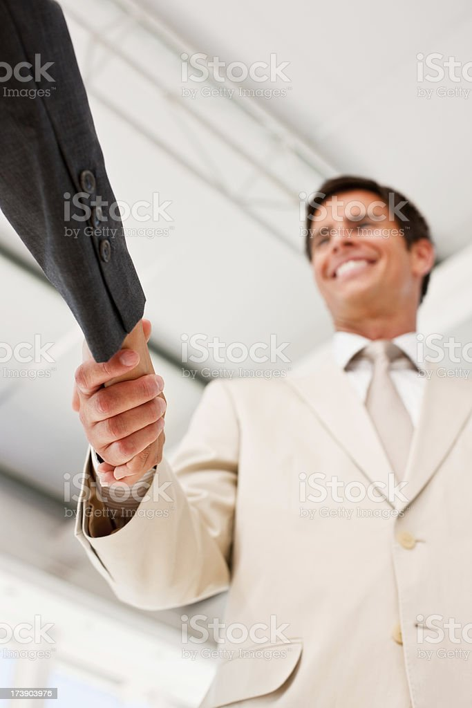 Business colleagues shaking hands in office royalty-free stock photo