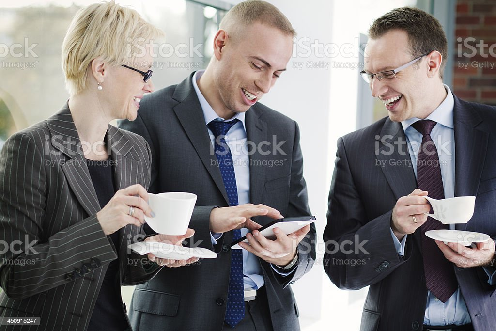 Business colleagues talking stock photo