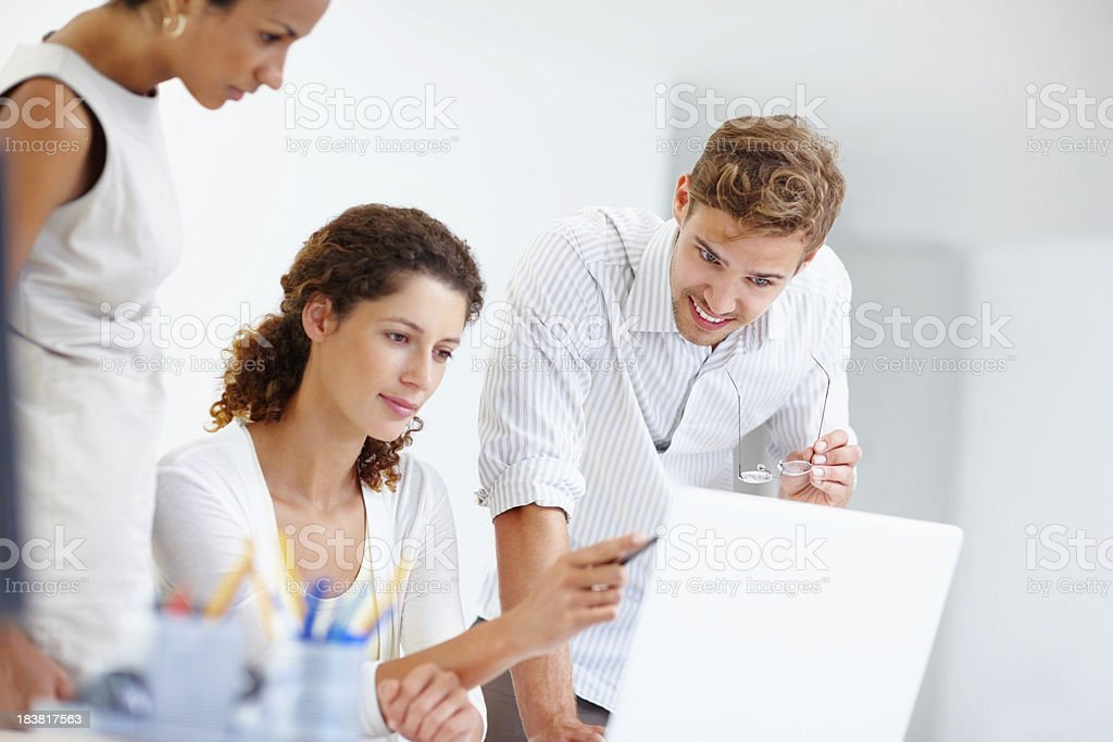 Business colleagues using a laptop royalty-free stock photo