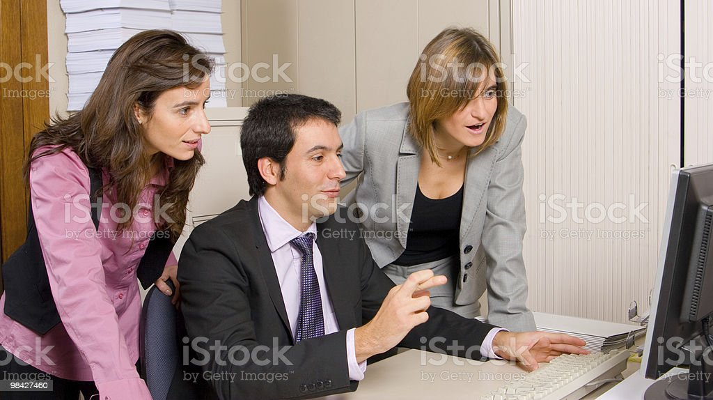 Business colleagues with fingers crossed royalty-free stock photo