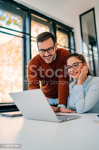 istock Business colleagues working together in the office 1193287941