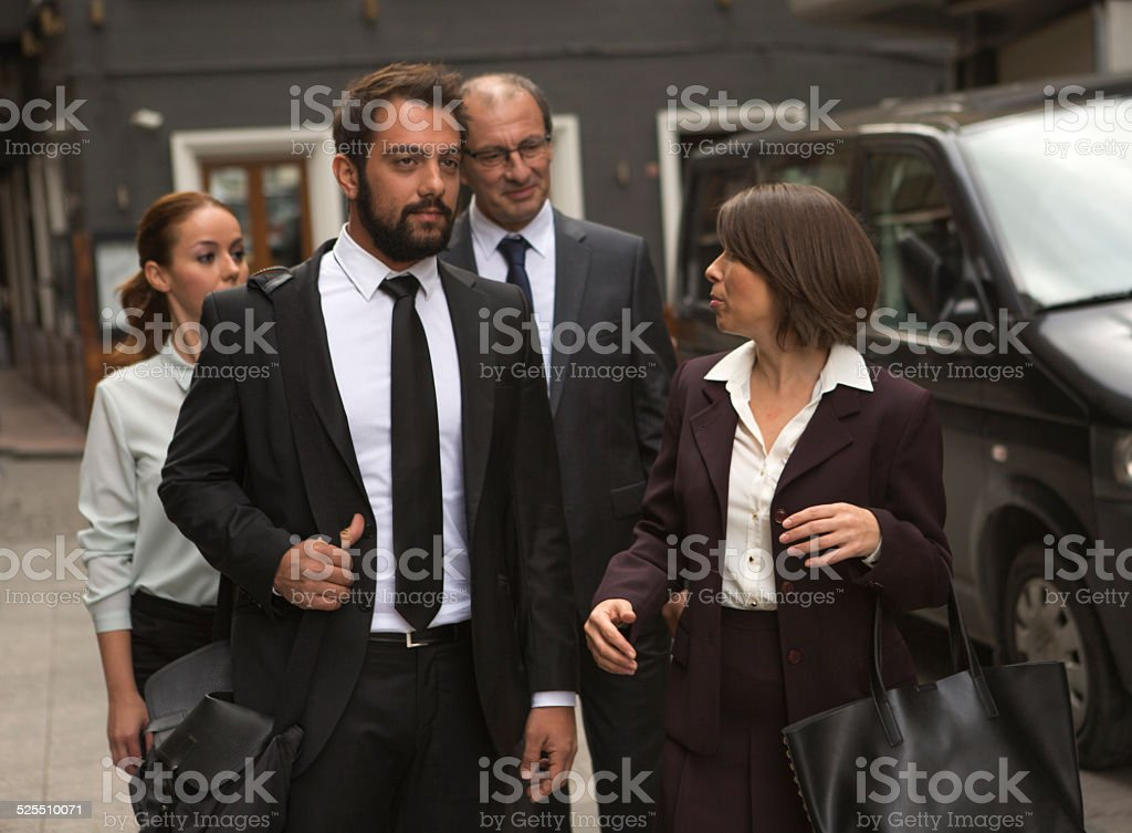 business collegues walking to meeting in istanbul turkey stock photo