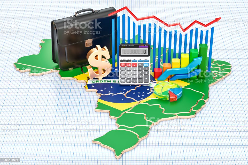 Business, commerce and finance in Brazil concept, 3D rendering - fotografia de stock