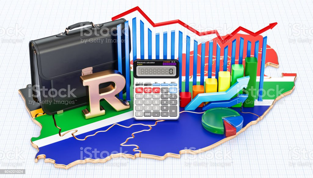 Business, commerce and finance in South Africa concept, 3D rendering stock photo
