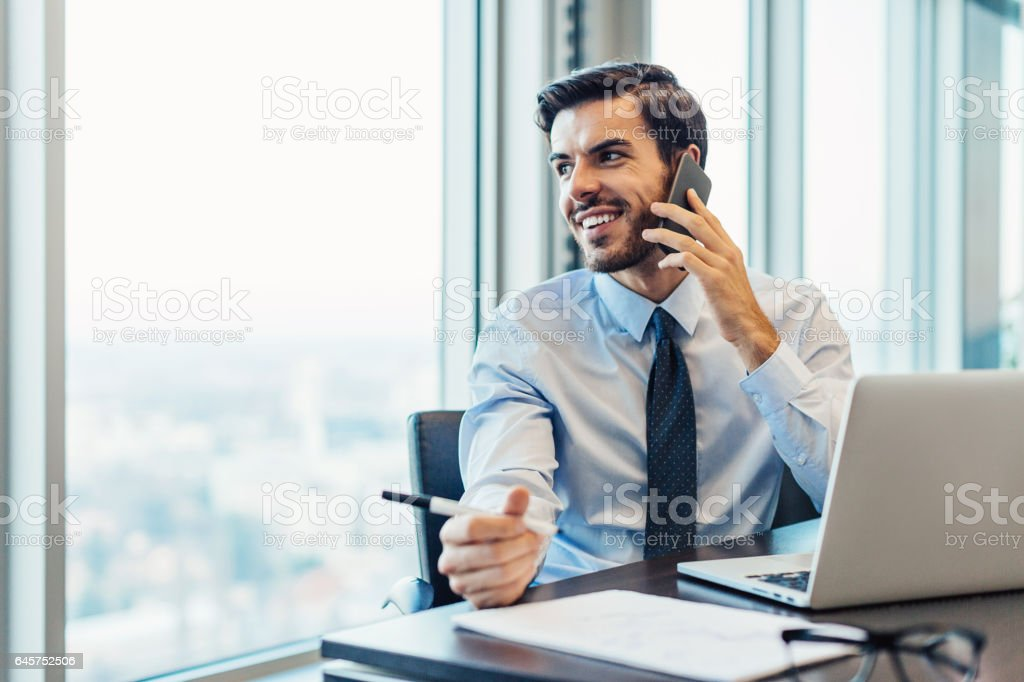 Business communication and work stock photo