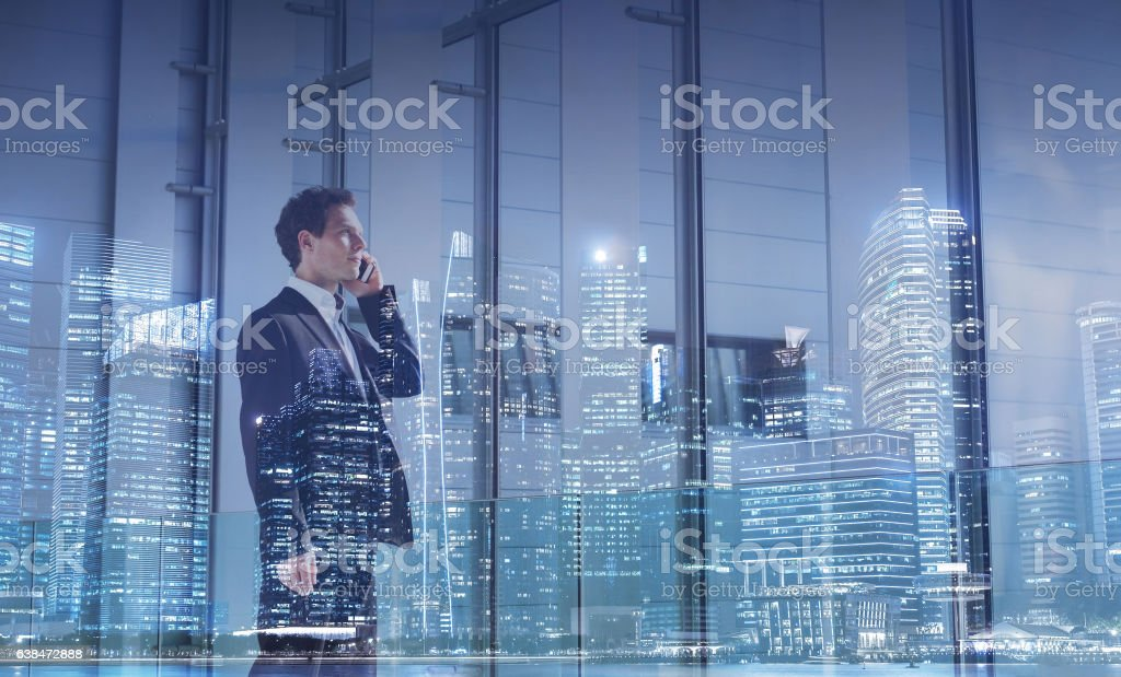 business communication concept, businessman calling by phone stock photo