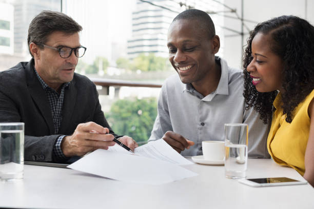 business communication connection people concept - bankers stock photos and pictures