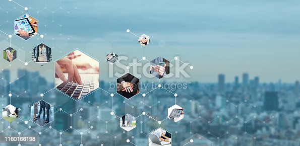 Business communication network concept. Group of businessperson.