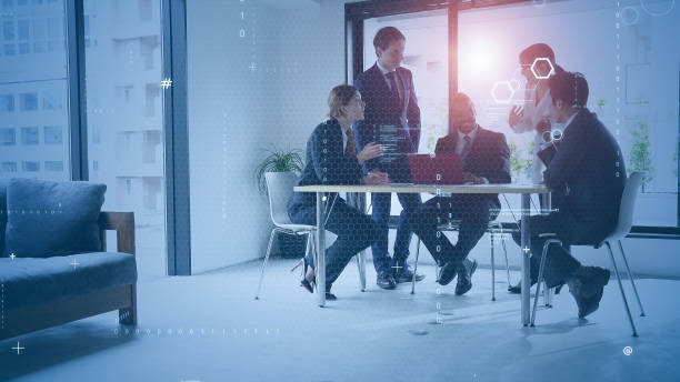 Business communication network concept. Software as a service. Digital transformation. stock photo