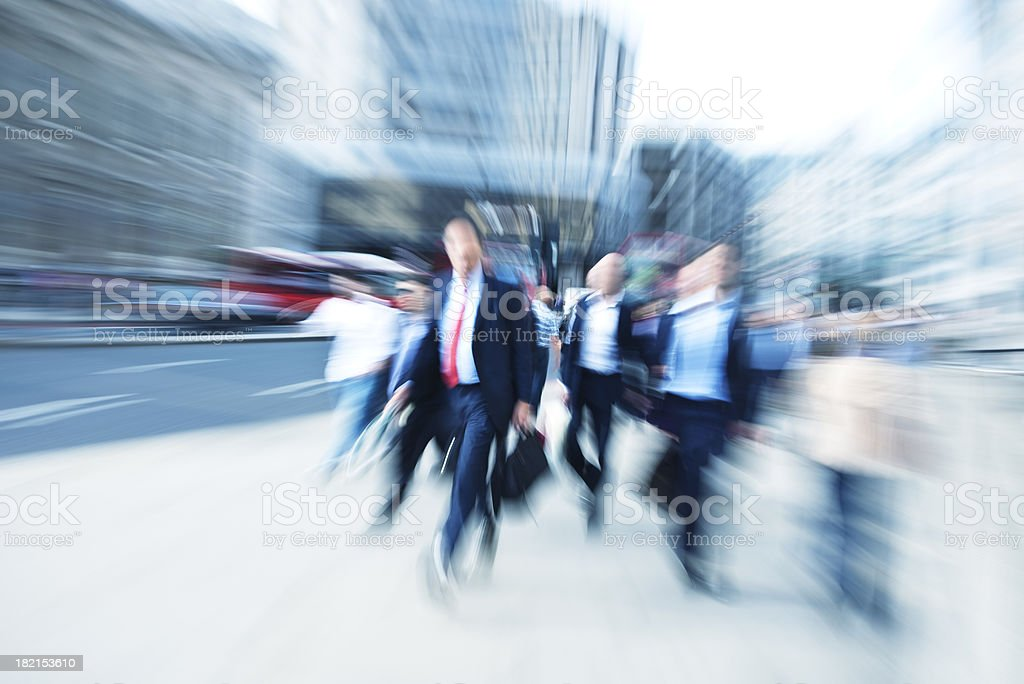 Business Commuters Walking Down Street, Blurred Motion, London, England stock photo
