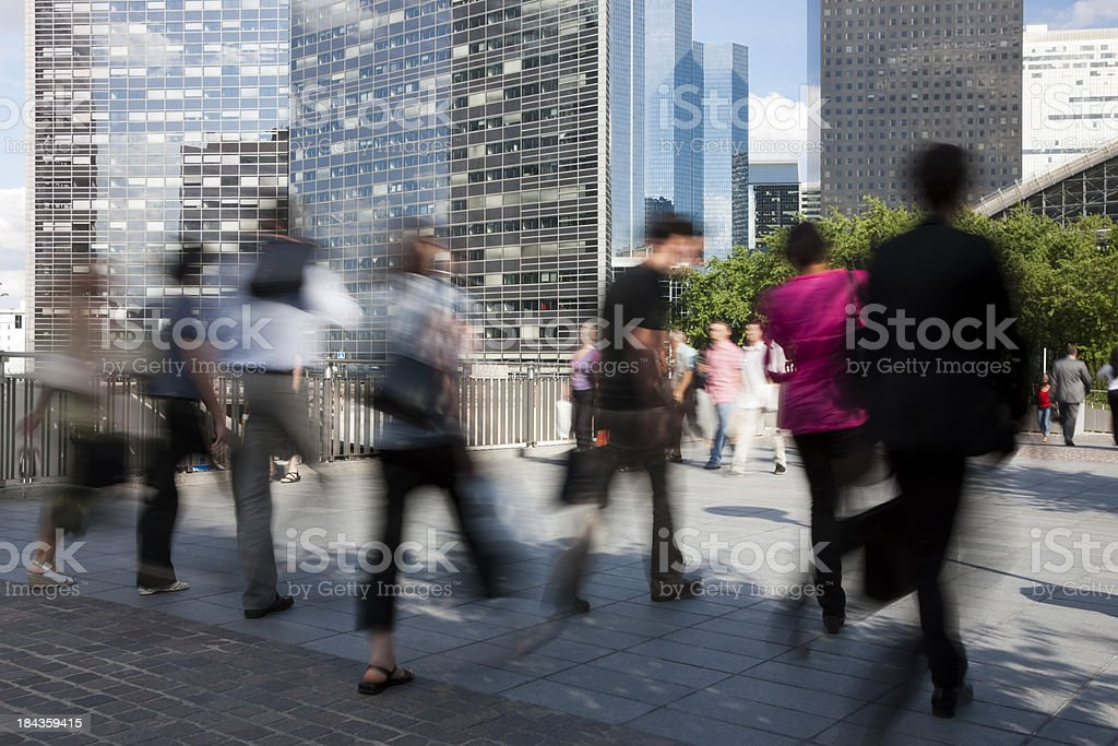 Business Commuters Walking in Front of Office Buildings royalty-free stock photo