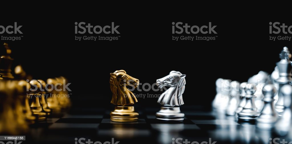 Business competition and strategy plan concept. Chess board game gold...