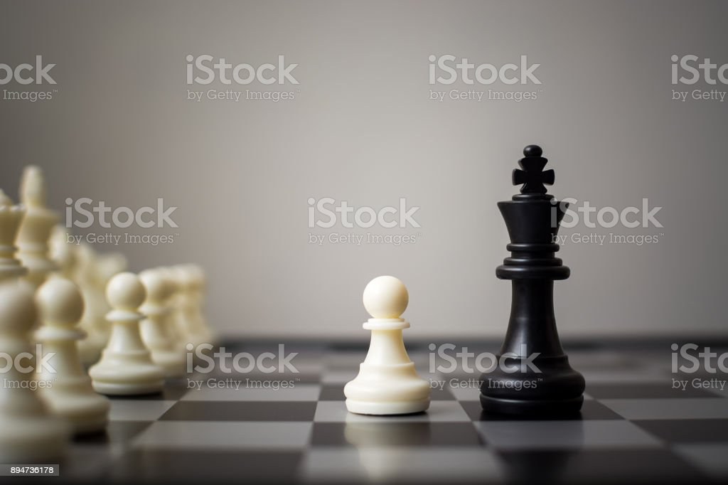 Business competition of small and large businesses, Team leadership and company concept, Chess board game with copy space for your textTeam leadership and company concept, Chess board game with copy space for your text stock photo