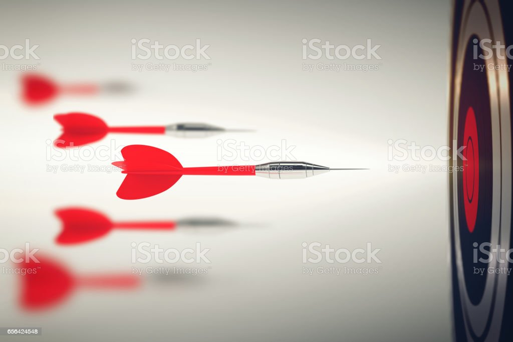 Business competition with darts foto stock royalty-free