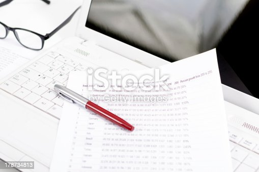 1217929357 istock photo Business composition with laptop glasses pen and statistics sheets 178734813