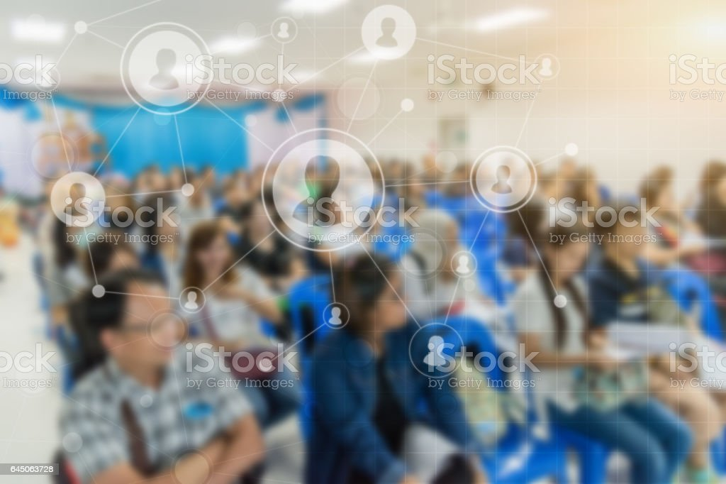 Business concept : asia people listen in business seminar presentation stock photo