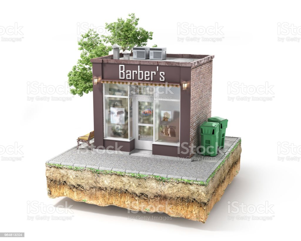 Business concept. Barbershop isolated on a white. 3d illustration royalty-free stock photo