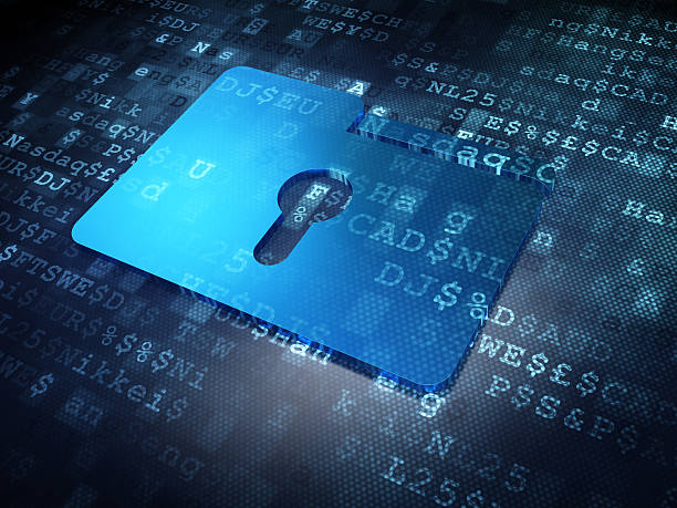 business concept: blue folder with keyhole on digital background - privacy policy stock photos and pictures