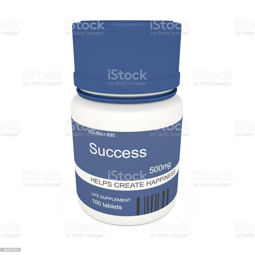 Business Concept: Blue Pill Bottle Success, 3d illustration on white background royalty-free stock photo