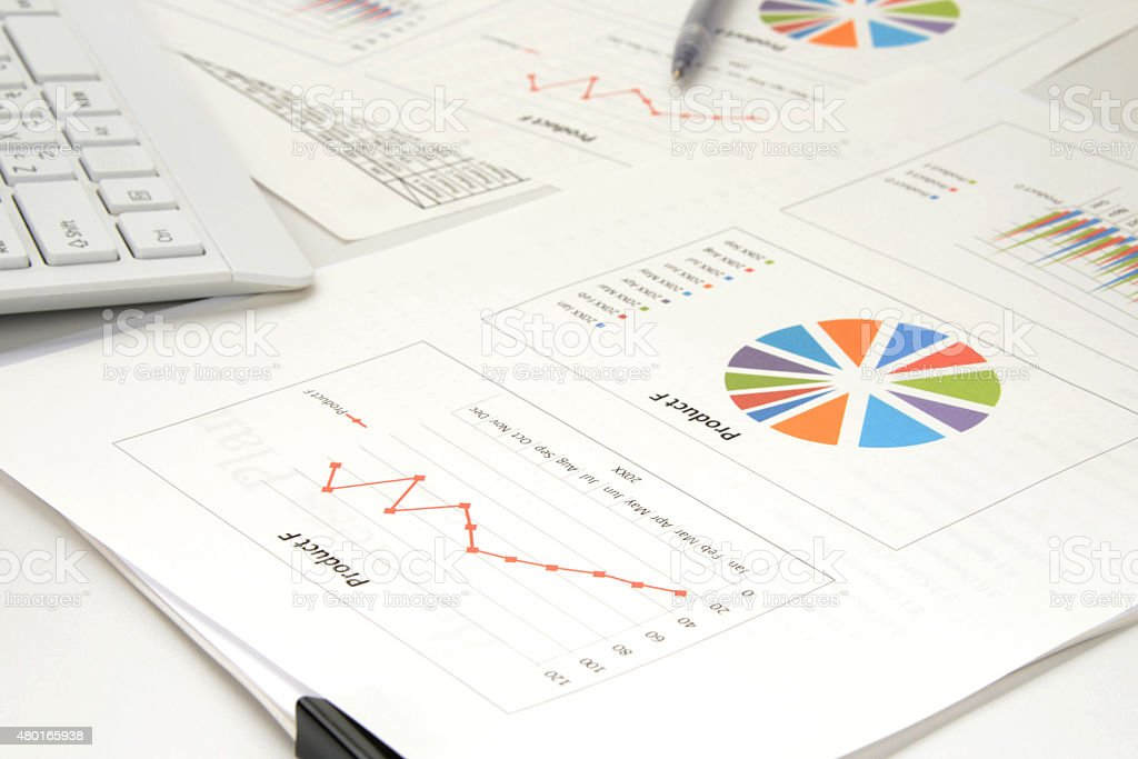 Business concept, business chart on desk with no person stock photo