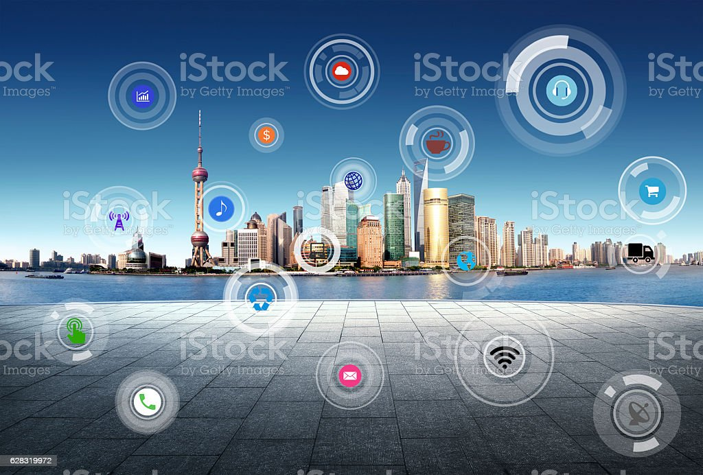 Business concept, city scape and Global business connection tech stock photo