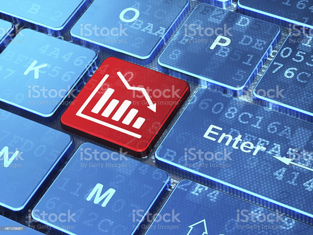 Business concept: Decline Graph on computer keyboard background royalty-free stock photo
