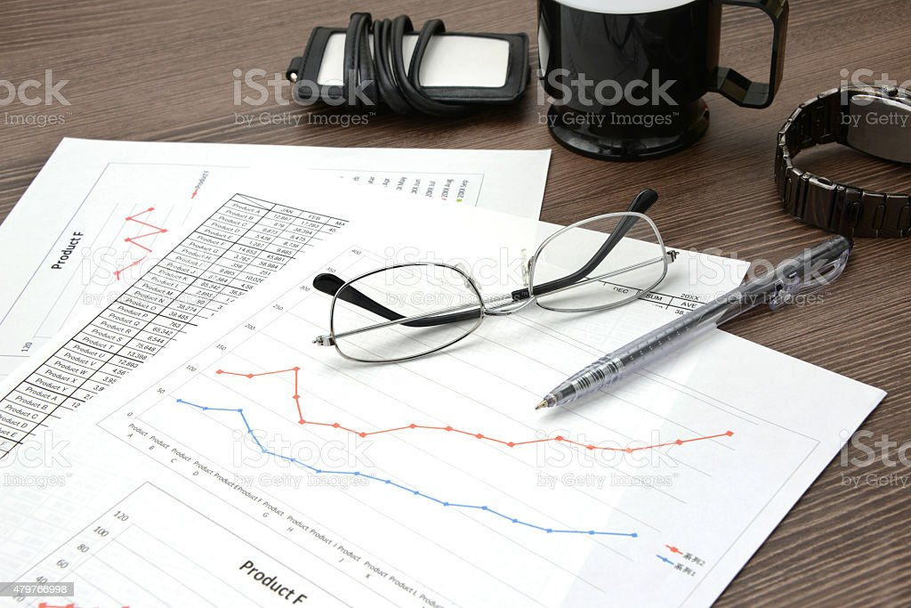 Business concept, desk in office with no person stock photo