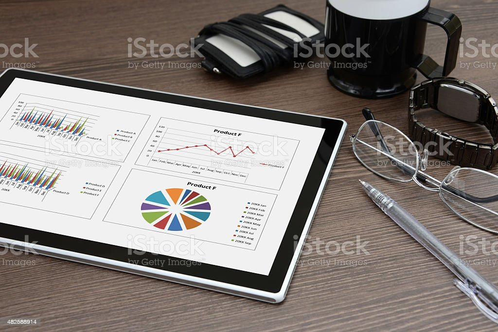 Business concept, digital tablet and business items stock photo