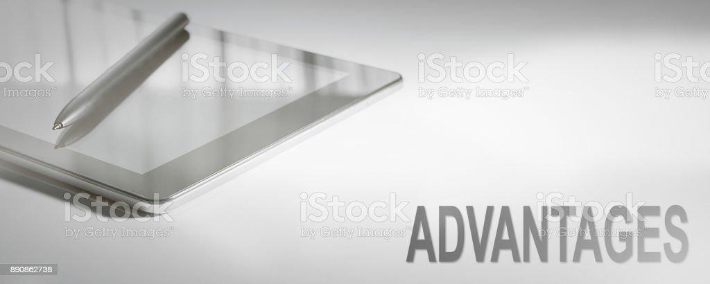 ADVANTAGES Business Concept Digital Technology. Graphic Concept. stock photo