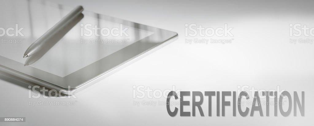 Zertifizierung-Business Konzept Digitaltechnik. Grafisches Konzept. – Foto